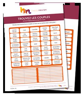 """Fiche atelier mémoire n°15 : exercices cognitifs gratuits, jeux mémoire à imprimer - Jeu """"Trouvez les couples"""""""
