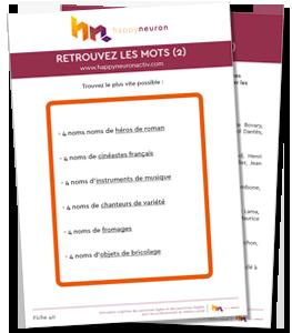 """Fiche atelier mémoire n°40 : exercices cognitifs gratuits, jeux mémoire à imprimer - Jeu """"RETROUVEZ LES MOTS 2"""""""