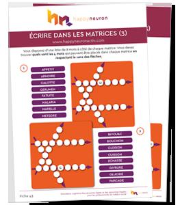 """Fiche atelier mémoire n°43 : exercices cognitifs gratuits, jeux mémoire à imprimer - Jeu """"Écrire dans les matrices"""""""